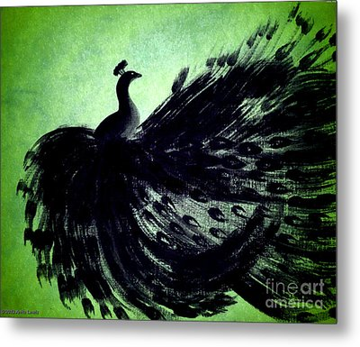 Dancing Peacock Green Metal Print by Anita Lewis