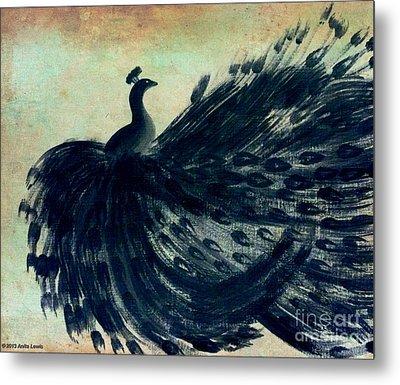 Dancing Peacock Mint Metal Print by Anita Lewis