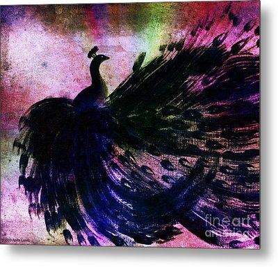 Dancing Peacock Rainbow Metal Print by Anita Lewis