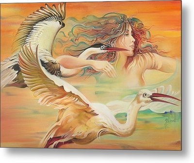 Dancing With Birds Metal Print