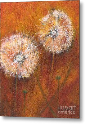 Metal Print featuring the painting Dandelion Clocks by Sandy Linden