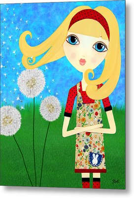 Metal Print featuring the painting Dandelion Wishes by Laura Bell