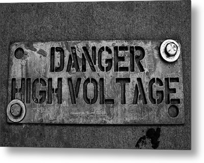 Danger High Voltage Metal Print