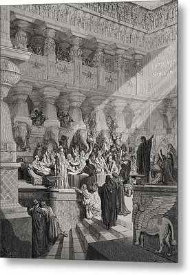 Daniel Interpreting The Writing On The Wall Metal Print by Gustave Dore