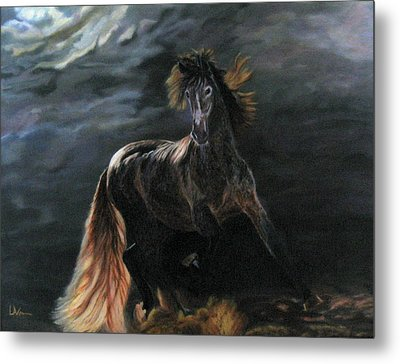 Dappled Horse In Stormy Light Metal Print by LaVonne Hand