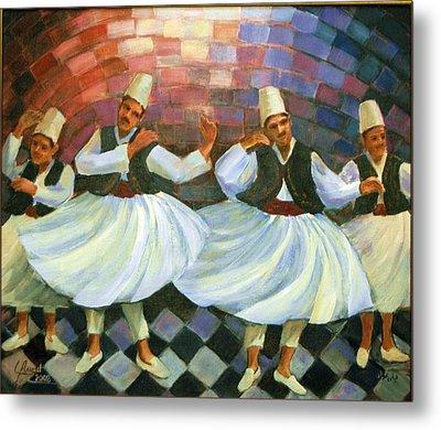 Metal Print featuring the painting Daraweesh Dancing by Laila Awad Jamaleldin
