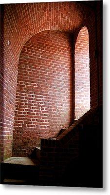 Dark Brick Passageway Metal Print by Frank Romeo