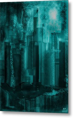 Metal Print featuring the digital art Dark City by Martina  Rathgens