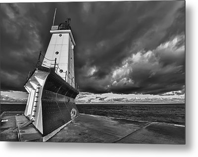 Dark Clouds Black And White Metal Print by Sebastian Musial