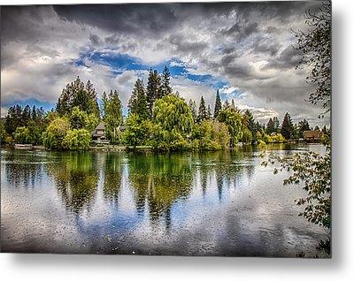 Dark Clouds Over Mirror Pond Metal Print by John Williams