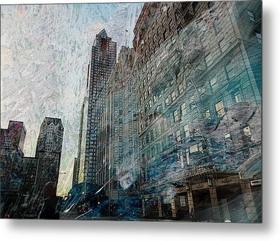 Dark Downtown Streetscene With Confetti And Wind Metal Print