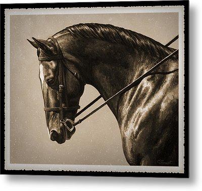 Dark Dressage Horse Old Photo Fx Metal Print