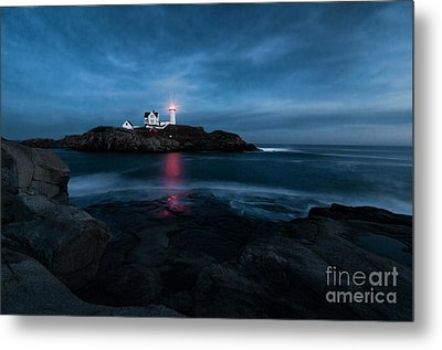 Dark Night At The Nubble Metal Print by Sharon Seaward
