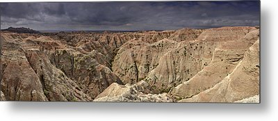 Metal Print featuring the photograph Dark Panorama Over The South Dakota Badlands by Sebastien Coursol