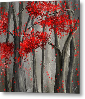 Dark Passion- Red And Gray Art Metal Print