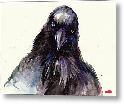 Dark Raven Head Detail - Crow Head Metal Print by Tiberiu Soos