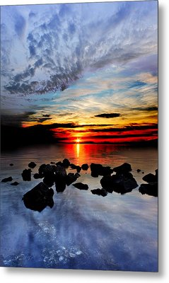 Metal Print featuring the photograph Dark Red Sunset Reflection Transparent Blue Sea Black Clouds Art by Eszra