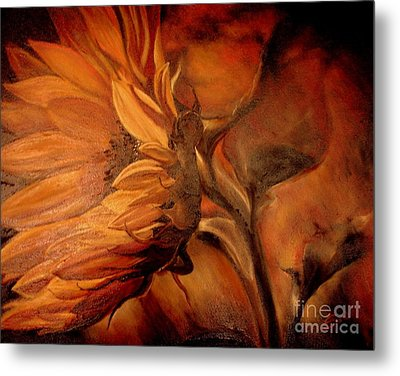 Metal Print featuring the painting Dark Sunflower by Sorin Apostolescu