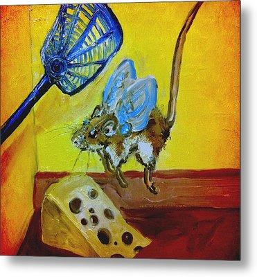 Darn Mouse Flies On Swiss Metal Print