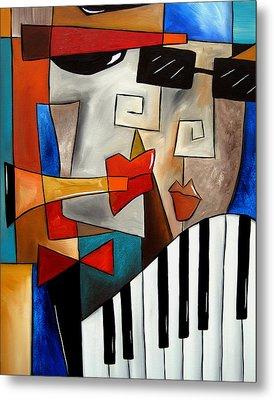 Darned Tootin - Original Cubist Art By Fidostudio Metal Print by Tom Fedro - Fidostudio