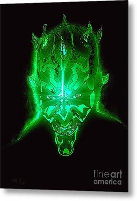 Darth Maul Green Glow Metal Print by Saundra Myles