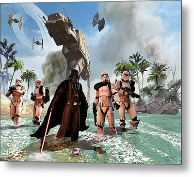 Darth Vader Searching The Beach Metal Print by Kurt Miller