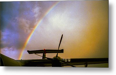 Dash 8 And Rainbow Metal Print by Greg Reed