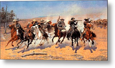 Dash For The Timber Metal Print by Frederic Remington