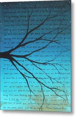Dave Matthews Band Crush Lyric Art - Blue Metal Print