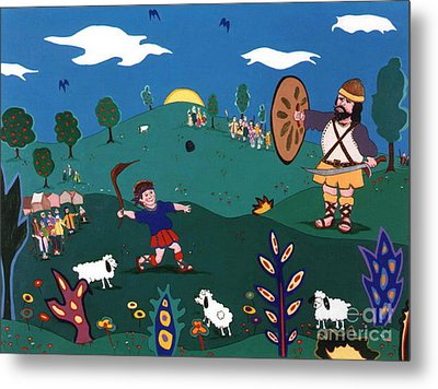 David And Goliath Metal Print
