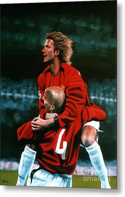 David Beckham And Juan Sebastian Veron Metal Print