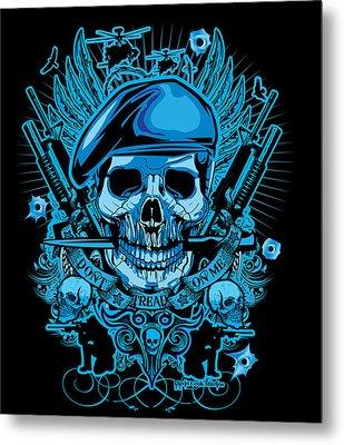 David Cook Studios Army Ranger Military Skull Art Metal Print by David Cook  Los Angeles Prints