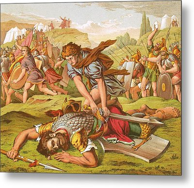 David Slaying The Giant Goliath Metal Print by English School