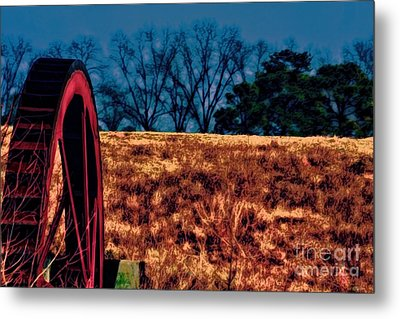 Dawn And The Water Wheel Metal Print by Lesa Fine