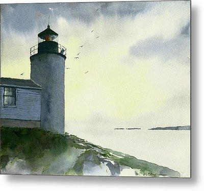 Dawn At Bass Harbor Lighthouse Metal Print