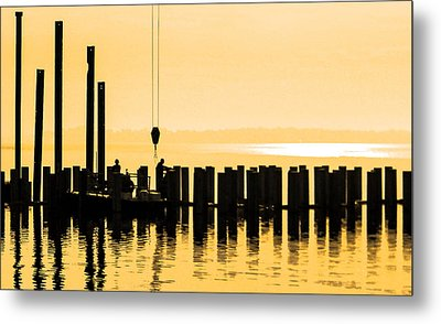 Dawn Dock Work Metal Print by Christy Usilton