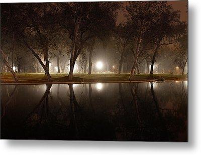 Dawn Mist Rising At Sycamore Pool  Metal Print