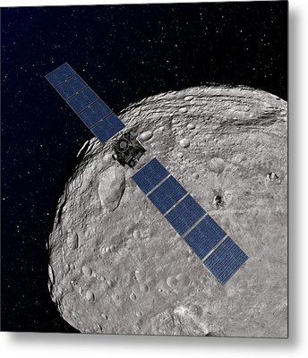 Dawn Spacecraft At Vesta Metal Print by Nasa/jpl-caltech