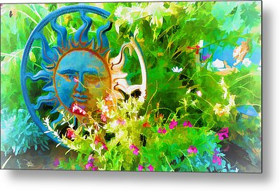 Dawn Sun Across The Garden Metal Print