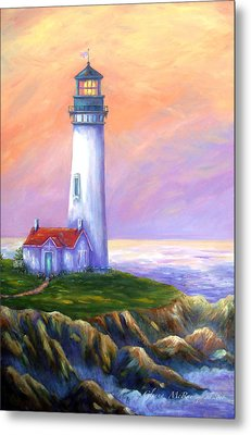 Dawn's Early Light Yaquina Head Lighthouse Metal Print