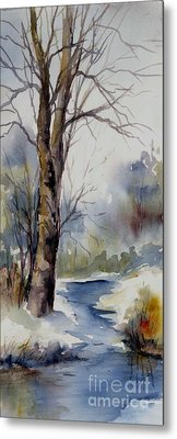 Misty Winter Wood Metal Print