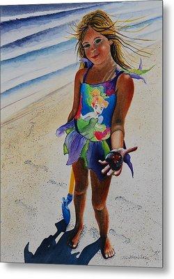 Day At The Beach Metal Print by Joy Bradley