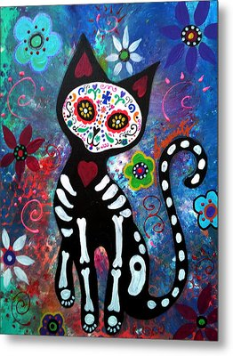 Day Of The Dead Cat Metal Print by Pristine Cartera Turkus
