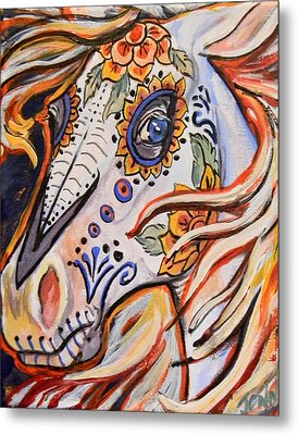Day Of The Dead Horse Metal Print by Jenn Cunningham