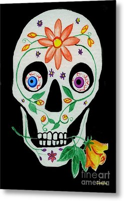 Day Of The Dead Skull 1 Metal Print