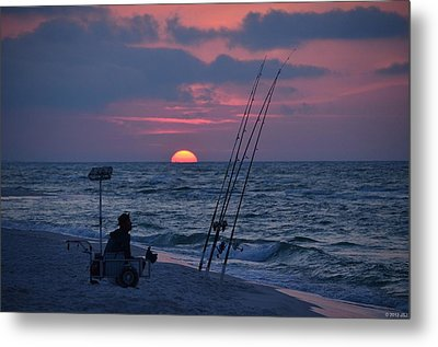 Metal Print featuring the photograph Daybreak On Navarre Beach With Deng The Fisherman by Jeff at JSJ Photography