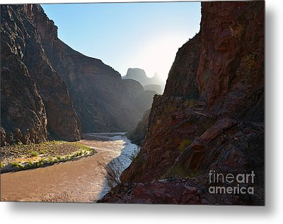 Daybreak Over The Colorado River Along Bright Angel Trail Grand Canyon National Park Metal Print by Shawn O'Brien
