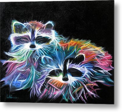 Metal Print featuring the painting Dayglow Raccoons by LaVonne Hand