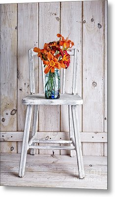 Daylillies On A White Chair Metal Print by Edward Fielding