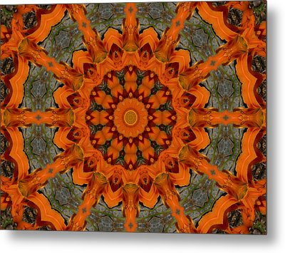Metal Print featuring the photograph Daylily Orange Mandala by MM Anderson